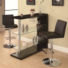 bar table set in gloss black finish with 2 bar stool by coaster 100165 120357