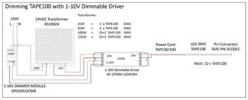 1 10v dimmable driver (constant voltage) white 10v 24v 50w 0-10v dimming cable at 1 10v Dimming Wiring Diagram
