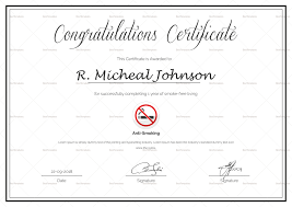 Congratulations Certificates Templates Certificate Of Congratulations For Quitting Smoking Template