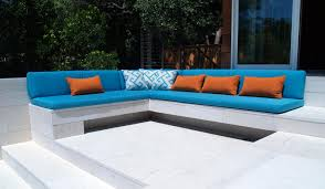 bench with blue cushion seat by sunbrella outdoor furniture with pretty pillows for patio decoration ideas