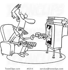 watching tv clipart black and white. cartoon black and white line drawing of a guy holding many remotes watching tv #5314 by ron leishman clipart