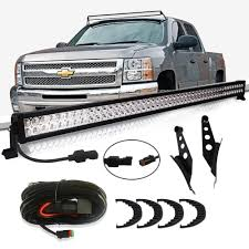 2014 Chevy Silverado Light Bar Mount Turbosii Dot 50 Inch Straight Led Light Bar W Upper Roof Windshield Mounting Brackets Dt Wiring Kit Remote Switch For 2014 2015 2016 Chevrolet Chevy