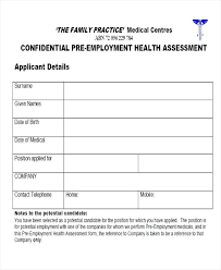 Medical Forms In Employee Assessment Form Sample Self