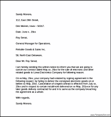contract cancellation letter letter of contract cancellation