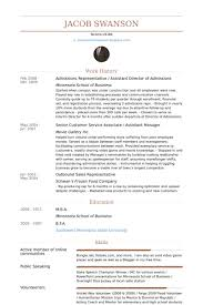 Admissions Representative / Assistant Director Of Admissions Resume samples