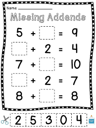 Missing Addends Cut Sort Paste Worksheets   Math class, Worksheets ...