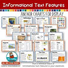 Informational Text Features Anchor Charts Non Fiction Text