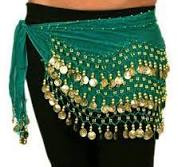 <b>Chiffon Belly Dance</b> Hip Scarf with Beads & Coins - TEAL GREEN ...