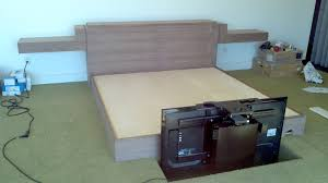 Bed With Tv Built In Black Walnut King Bed With 50 Tv Lift In Footboardwhich Isnt