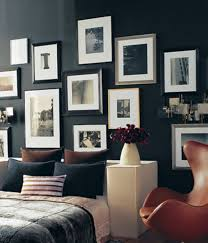 Decoration, Mens Bedroom Design With Black Interior Color Decorating Ideas  Plus Hanging Pictures On Wall