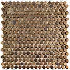 Merola Tile Comet Penny Round Gold 11-1/4 in. x 11-