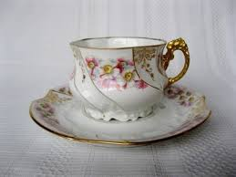 Decorating With Teacups And Saucers Marked Charles Ahrenfeldt Limoges France White with pink and 62