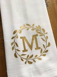 monogrammed kitchen towel personalized laurel monogram wedding gift for the couple