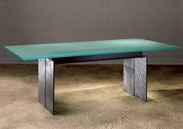 axis frosted glass meeting table with textured steel legs and i beams