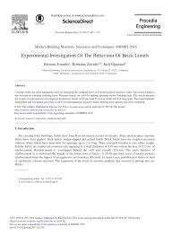 Pdf Experimental Investigation Of The Behaviour Of Brick