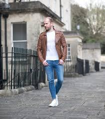 mens fashion blogger bodaskins antique brown leather biker jacket outfit