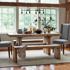 Dining room table bench Modern West Elm Emmerson Reclaimed Wood Dining Table Reclaimed Pine West Elm