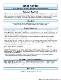 Office Clerk Resume Sample Free Clerical Resume Examples Office