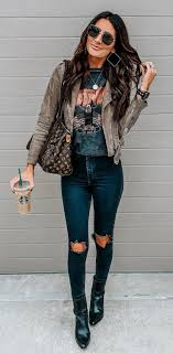 spring outfit leather jacket slim fit pants
