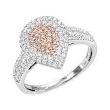 teardrop 14k gold white pink diamond engagement ring 0 8ct by luxurman white image