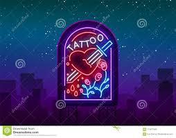 логотип студии татуировки в неоновом стиле неоновая вывеска эмблема
