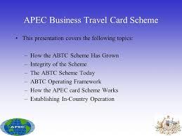 Regional Trade Facilitation Apec Business Travel Card Scheme Ppt