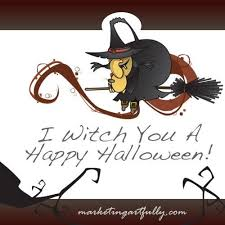 happy halloween saying with witches