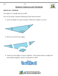 basic geometry formulas angles in a triangle