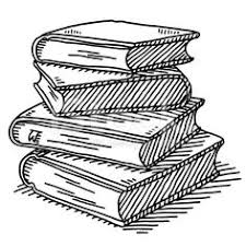 hand drawn vector drawing of a stack of four books black and white