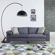 low profile sofa. Modern Linen Fabric Sofa Low Profile Living Room Couch (Light Grey) S