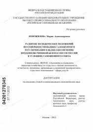 Диссертация на тему Развитие методических положений по  Диссертация и автореферат на тему Развитие методических положений по совершенствованию таможенного регулирования в целях обеспечения