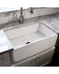 fireclay farmhouse sink. Highpoint Collection 30-inch Single Bowl Fireclay Farmhouse Kitchen Sink With Grid And Drain (