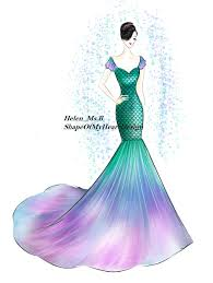 Mermaid Designer Mermaid Dress With Colorful Mermaid Tail Fashion Design