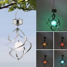 color changing solar garden lights. Hot Color Changing Solar Powered LED Wind Chimes Spinner Outdoor Hanging Spiral Garden Light Courtyard Lights A
