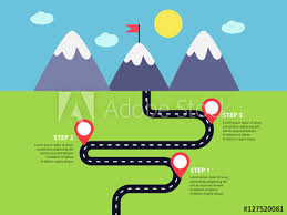 Winding Road Infographics Template With Mountains And Pin Pointers