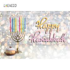 <b>Laeacco</b> Happy Hanukkah Festivals <b>Colorful Brick</b> Wall Menorah ...
