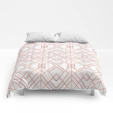 geo rose gold comforters by