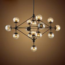 wonderful ceiling lights and chandeliers retro industrial loft multiple tea glass globe black iron pendant