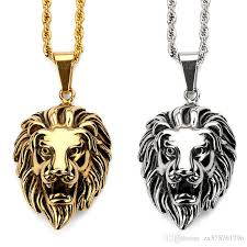 fashion men vintage charm gold color lion head pendant necklace stainless steel chain hip hop statement jewelry for men gifts charm necklace gold lion