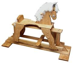 ask us a question amish oak wood rocking horse glider