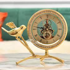 gold luxury creative table clock bird