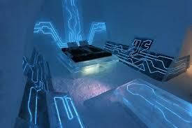4 tron blue futuristic bedroom