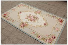 aubusson rug 3x5 blue cream pink