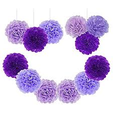 Paper Flower Tissue Paper Paper Pom Poms Tissue Paper Flowers Purple Mysterious Flower Balls Wedding Birthday Party Baby Shower Pack Of 12pcs