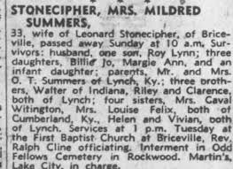 Obituary for MRS MILDRED STONECIPHER SUMMERS (Aged 33) - Newspapers.com
