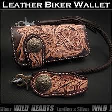 genuine cowhide leather biker wallet western scroll carved custom handmade wallettan dark brown wild hearts leather silver id lw3138