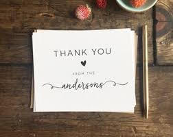 Wedding Thank You Notes Wedding Thank You Cards Etsy