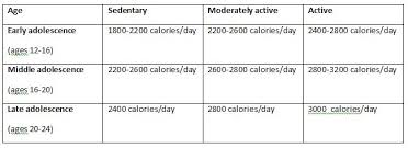 Nutrition Chart For Teens Teenage Caloric Requirements Child Development Parenting