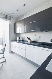 modern white and black kitchens. Inspiring Airy Contemporary Apartment In Light Shades : Modern With White Kitchen Wall Island Table Sink Oven Cabinet Wash And Black Kitchens