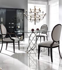 london collection modern round glass dining table